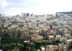 A small cluster of hillside homes and businesses in Amman, Jordan