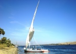 A felucca setting off on a Nile voyage from Aswan, Egypt