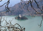 Looking down from the castle to the lake in Bled, Slovenia