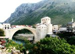 The Kriva Cuprija (Sloping Bridge) in Mostar, Bosnia