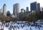 Locals ice skating in New York's Central Park, United States