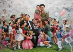 A school painting of the Eternal and Dear Leaders, North Korea