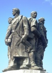 An imposing Soviet statue in the centre of Tirane, Albania